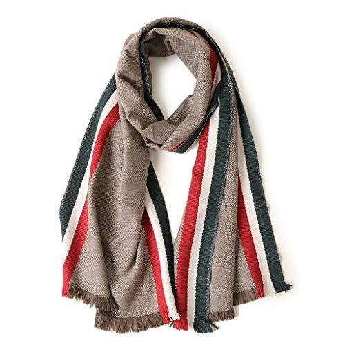 SUFLANG donkergroene verticale strepen warme sjaal meisje sjaals extra lang met kwast sjaal elegante dames sjaal,202x37cm Groen