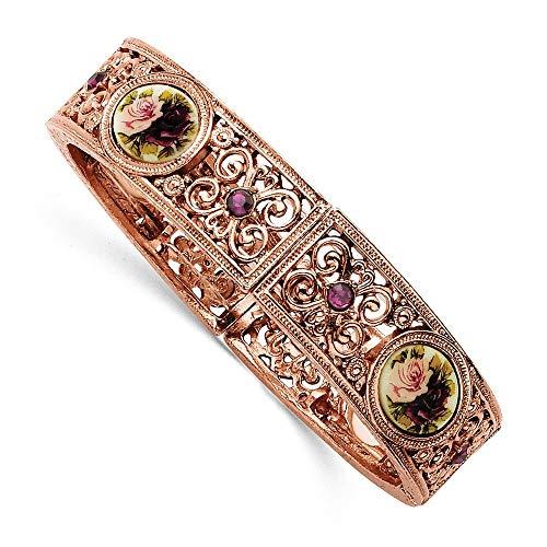 JewelryWeb Rosa-tono oscuro con cristales de color morado de Vinilo Floral pulseras elásticas con cuentas