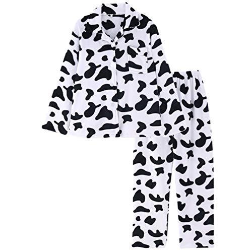 VALICLUD Conjunto de Pijamas para Mujer con Botones Y Estampado de Vaca Pjs Ropa de Dormir de Manga Larga Y Pantalones