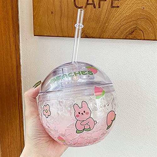 400 ml Botella de Agua de Hielo Redonda con batería de Paja para niñas niñas de plástico Jugo Reutilizable de Fresa Peach Cup Cup Chenhuanbakeyji (Capacity : 400ml, Color : Pink)