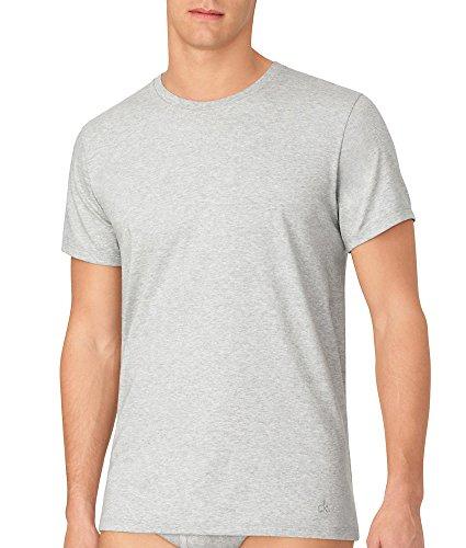 Calvin Klein Playeras de algodón clásicas con Cuello Redondo para Hombre, Blanco/Negro/Gris Jaspeado, X-Large