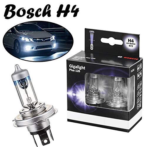 2x Bosch H4 60/55W 12V P43t Gigalight Plus 120 hell Weiß Xenon Look White Ersatz Scheinwerfer Halogen Auto Lampe - E-geprüft