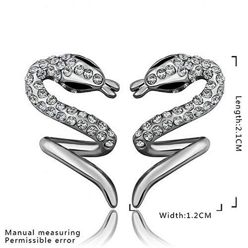 ZHENAO un Par de Pendientes de Serpiente de Diamantes de Oro Rosa Respetuosos con el Medio Ambiente/Acero Inoxidable/Hipoalergénico/Brillo Plateado/Diamante/Peque?o Cautel