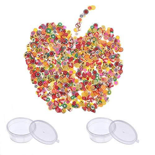 Simuer - Lote de 2 rebanadas de fruta Fimo para decoración de cara de fruta y limo para hacer suministros para pegar a limo y arte de uñas alrededor de 6000 piezas