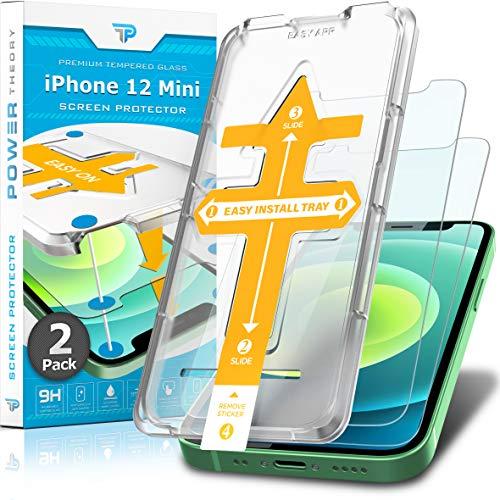 Power Theory Protector Pantalla Cristal Templado iPhone 12 Mini - (2 Unidades) Vidrio Ultrafino (0.33mm), Ultraresistente (9H Dureza) con Kit de Instalación sin Burbujas