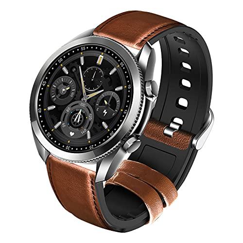 Smartwatch, Reloj Inteligente Impermeable IP67 con Pulsómetro, Cronómetros, Calorías, Monitor de Sueño, Podómetro Pulsera Smart Watch Hombre Mujer Reloj Deportivo para Android iOS,Brown+Silver