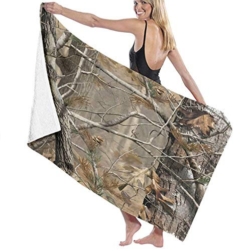 SUDISSKM Sand Towel,Bath Towel,Camo Tree Old Forest Camouflage Art, Quick-Drying, high Absorption, Light and Soft Bath Towels, Swimming Baths, Camping, Yoga, Fitness, Household Bath Towels