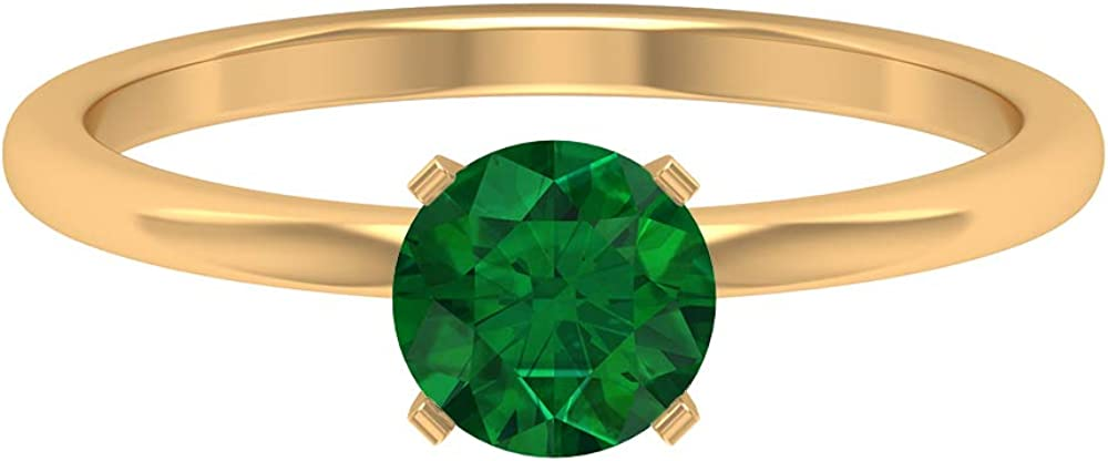 5 MM Solitaire Emerald Ring, Simple Engagement Ring, Solid Gold Wedding Ring, 14K Gold