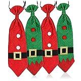 com-four® 4X Krawatte für Weihnachtsmannverkleidung - Weihnachtskrawatte - Weihnachtskostüm - Weihnachtsmann Kostüm Herren und Damen [Farbauswahl variiert]