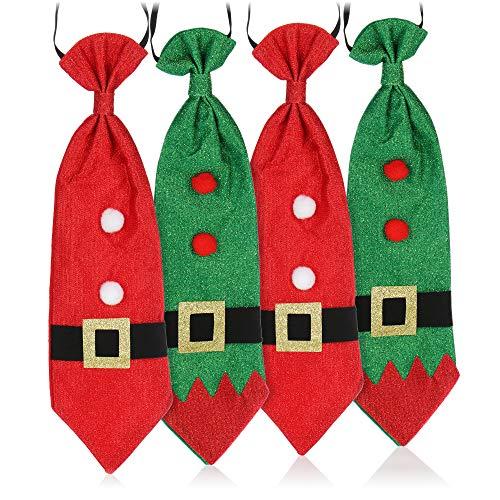 com-four Corbata 4X para Disfraz de Santa Claus - Corbata de Navidad - Disfraz de Navidad - Disfraz de Santa Claus para Hombres y Mujeres [la seleccin de Colores vara]