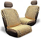 Zone Tech Royal Natural Wood Beaded Seat Cover- 2-Pack Premium Quality Full Car Massage Cool Comfort Seat Cushion - Reduces Fatigue for Car, Truck or Your Office Chair