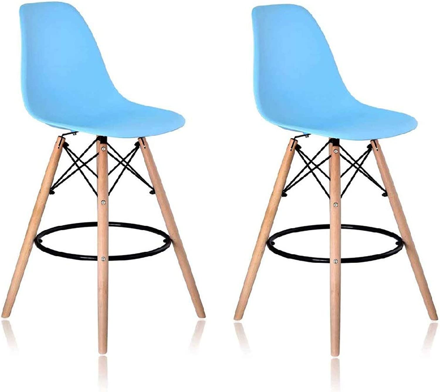 KIMCO Furniture Replica Charles Eames DSW bar Chair Stool (Set of 2) (bluee)