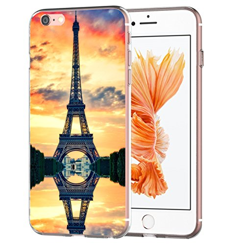 blitzversand Handyhülle Boutique Paris kompatibel für iPhone 6 / 6s Sonnenaufgang Paris Schutz Hülle Case Bumper transparent M8