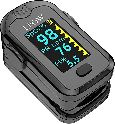 LPOW Pulse Oximeter Fingertip, Blood Oxygen Saturation Monitor for Pulse Rate, Heart Rate Monitor and SpO2 Levels with LED Screen Display Batteries and Lanyard Included