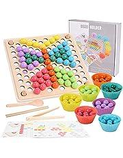 FORMIZON Jeu de Clips de Perles, Jouet de Puzzle, Clip Perles éducatifs, Jouet Montessori en Bois, Enfants Jouets en Bois, Clip Perles Puzzle pour Enfants Mains Brain Training