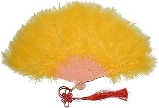 CENFRY Fluffy Marabou Feathers Large Fan Bridal Bouquet Dance Costume Decoration (Gold)