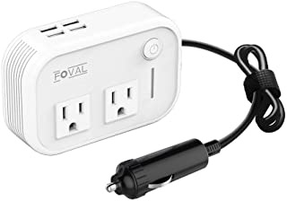 Foval 200W Car Power Inverter DC 12V to 110V AC Converter with 4 USB Ports Charger (White)