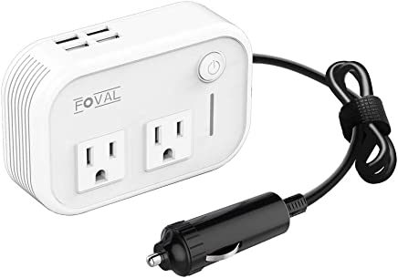 Foval 200W Car Power Inverter DC 12V to 110V AC Converter with 4 USB Ports Charger (White)