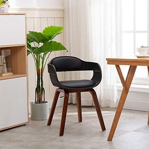 Mingone Morden Esszimmerstühle Küchenstühle Nussbaum Bequemer Ledersessel Wohnzimmerstühle mit Sessel, Schwarz