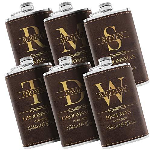 Set of 6 - Personalized Flask, Custom Groomsmen Gifts for Wedding - Leatherette Liquor Flask for Men, Groomsman Proposal - Rustic #4