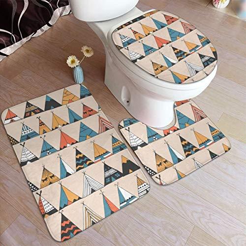 Tent badkamer tapijt matten Set 3 stuk 50×80cm Anti-Skid Pads badmat + contour + wc deksel Cover badkamer antislip Pad