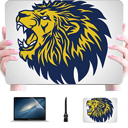 MacBook Air 13 Inch Touch Id Case 2018-2020 Release A1932 A2179, Roaring Lion Logo Blue Yellow Plastic Hard Case with Keyboard Cover & Mouse Pad