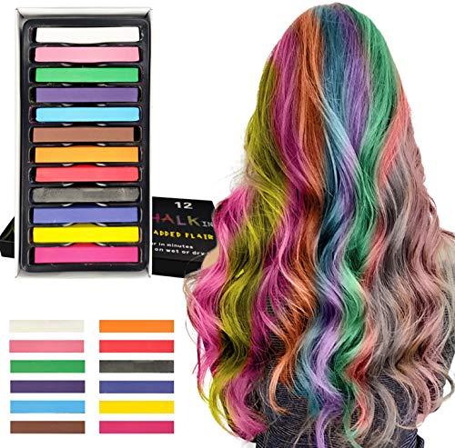 J TOHLO Haarkreide für Mädchen Temporär Haarfarbe Kreide für Kinder Haarfärbemittel 12 Stück Haarkreide-Set auswaschbar für Karneval, Party, Weihnachten Halloween Geburtstag