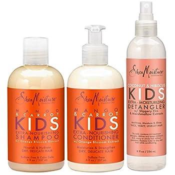 Shea Moisture Kids Hair Care Combination Pack – Includes Mango & Carrot 8oz KIDS Extra-Nourishing Shampoo 8oz KIDS Extra-Nourishing Conditioner and 8oz Coconut & Hibiscus KIDS Detangler