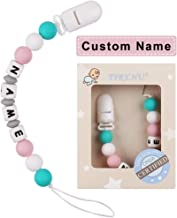 Pacifier Clip Personalized Name TYRY.HU Baby Girls Boys Binky Holder Soothie Paci Clip Silicone Bead Teething Relief Teether Toy Handmade Birthday Shower Gift (Green & Pink)