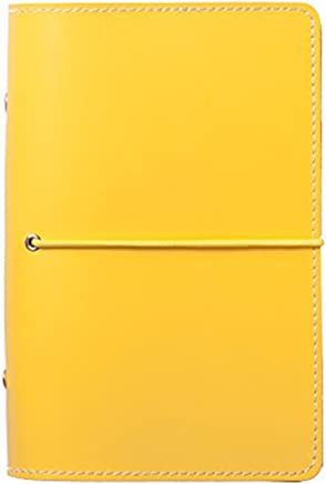 Labon's 6 Round Ring Binder Hardcover Personal Organizer Refills with Ruled Dotted Squared Blank Filler Paper/Loose Leaf Premium Thick Paper 200 Pages 5 Divider Tabs Inserts (A7, Yellow)