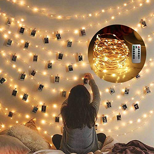 Cocoselected Warm White Twinkling Fairy Lights USB,33ft 100 Micro LEDs String Twinkle Lights with Remote Control Teen Girls Bedroom Decor Kids Night Light