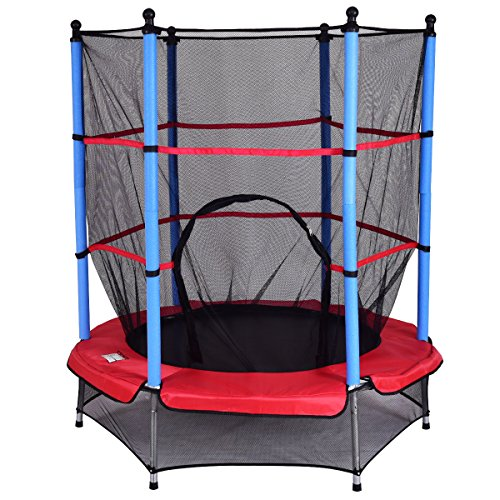 COSTWAY 4.5FT/55 Inch Trampoline Junior Kid Safety Net Kids Toddlers Jumper Indoor/Outdoor (Red)