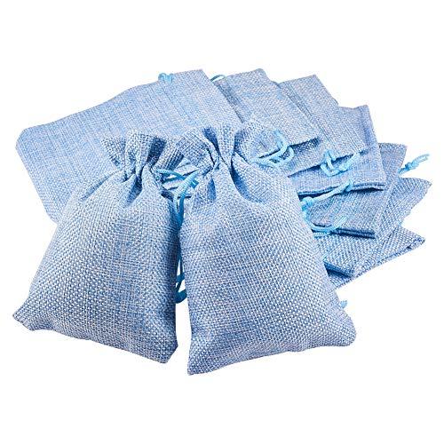 BENECREAT 30 PCS Bolsas de Arpillera con Cordón Envase de Regalo Color Azul Claro para Fiesta Boda y Almacenamiento de Cosas Pequeñas 14x10cm