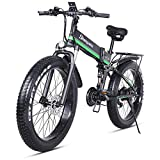 sheng milo 26 Pollici Fat Tire Electric Bike 1000W 48V Snow E-Bike Shimano 21 velocità Beach Cruiser Mens Women Mountain e-Bike Pedal Assist, Batteria al Litio Freni a Disco Idraulici (Verde)