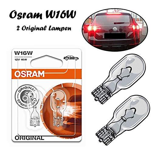 2x Original W16W 12V 921-02B Standard Ersatz Halogen Birne für Bremslicht Hecklicht Rückfahrlicht Nebelleuchte vorne Blinker vorne hinten und seitlich E-geprüft