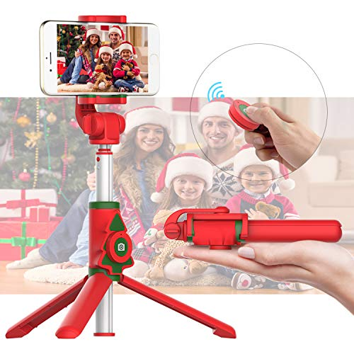 Bluetooth Selfie Stick Tripod with Wireless Remote Shutter Compatible with iPhone 11/X/8/7/6 Series, Samsung Galaxy S10/S9/S8/Note Series, Huawei, Other Smartphones(Christmas Tree)