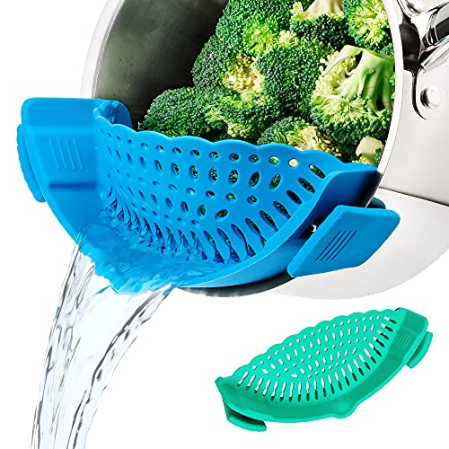 MICHELANGELO Juego de coladores a presión (2 unidades), colador de clip para ollas y sartenes, colador de pasta de silicona con clip en colador y colador de utensilios de cocina,...