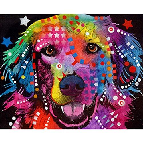Verf door cijfers Kleur Canvas Grote Bloem Hond Dier DIY Olieverfschilderij met Borstels en Acryl voor Volwassenen Beginners Kids Geschenken 40X50Cm, Zhxx With Frame