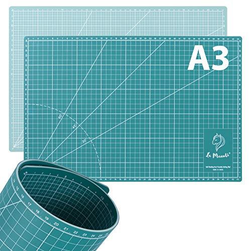 La Manuli Alfombrilla de Corte Autorregenerable A3 (45x30 cm) 5 Capas, Perfecta para Coser, Patchwork y Manualidades, Impresa por ambos lados, Indicación en cm Base de Corte (Verde)
