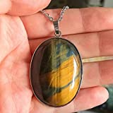1 Pcs 2'' Hand Carved Natural Gemstone Jewllery Pendant ,DIY Accessory for Necklace 50mm (Blue&Yellow Tiger Eye)