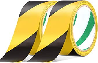 2 Pack Black & Yellow Warning Hazard Tape, Maveek 48mmX20m PVC Self-Adhesive Safety Grip Tapes, High-Visibility and Anti-Scuff Caution Rolls for Walls/Floors/Pipes/Equipment