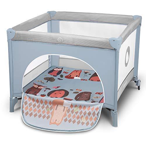 Lionelo Sofie lit bebe parc bebe jusqu'à 15 kg entrée latérale dispositif de protection contre le pliage accidentel LockGuard système de pliage rapide sac de transport (Bleu clair)
