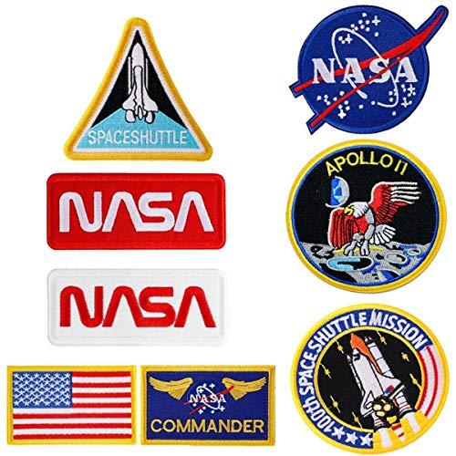 8 piezas de hierro en los parches de la bandera de la NASA Logo 100th Space Shuttle Misión Militar parches bordados para ropa DIY pegatinas personalizadas insignias