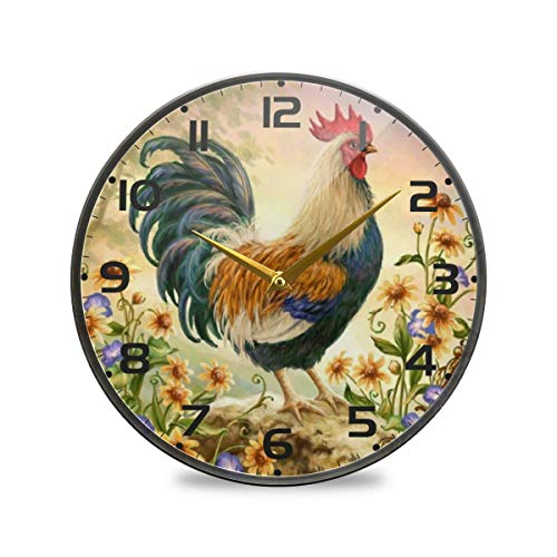 """vvfelixl Spring Rooster Yellow Flowers Wall Clock Battery Operated Silent 9.5"""" Round Mute Quiet Desk Clock Decoration Home Decor Living Room Modern"""