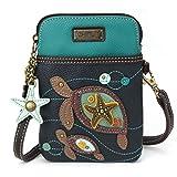 Chala Crossbody Cell Phone Purse - Women PU Leather Multicolor Handbag with Adjustable Strap - Turtles - Navy