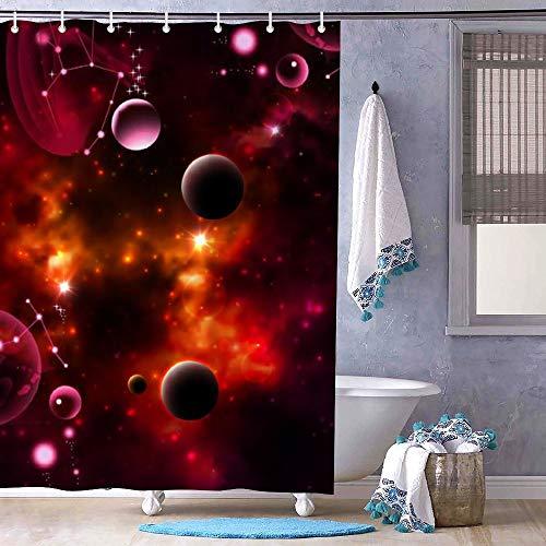 Dor675ser Duschvorhang, 182,9 x 200,7 cm, Galaxie-Weltraum, Pinker Himmel, Universum, Duschvorhang, Badezimmervorhang, Polyester, Stil 8, 72 x 79