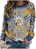 AiChao Women O-Neck Vintage Retro Pullover Fall Winter Printed Tees Top,Blue,3X-Large