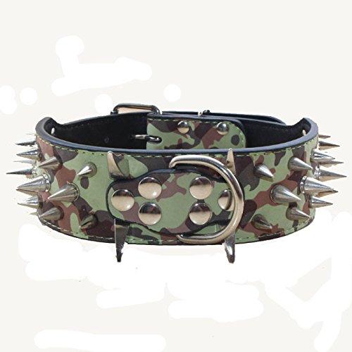 haoyueer Collar de perro con tachuelas afiladas de 5 cm de ancho, elegantes collares de piel para perros medianos y grandes Pitbull, labrador, boxeador Rottweiler pastor alemán... (XL, camuflaje)