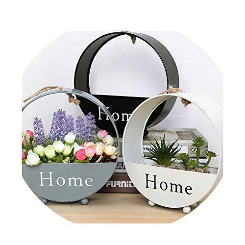 Europese smeedijzer ronde muur bloem mand eenvoudige woonkamer muur decoratie opslag huis decoratie accessoires Black Zwart