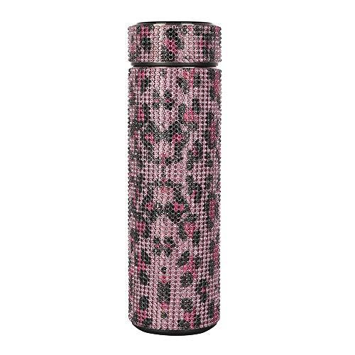 treseds Diamante Creativo Botella de Botella de Agua Botella de Agua Acero Inoxidable Temperatura Inteligente Muestra de vacío Frasco Taza Regalo para Hombres Mujeres (Color : Leopard A 500ML)